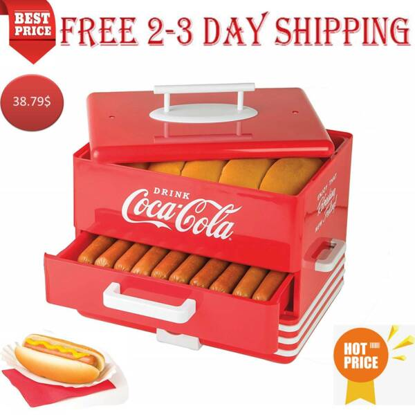 Hot Dog Steamer Cooker Food Dinner Machine Warmer Picinic Cooking Red 24 Buns $57.79