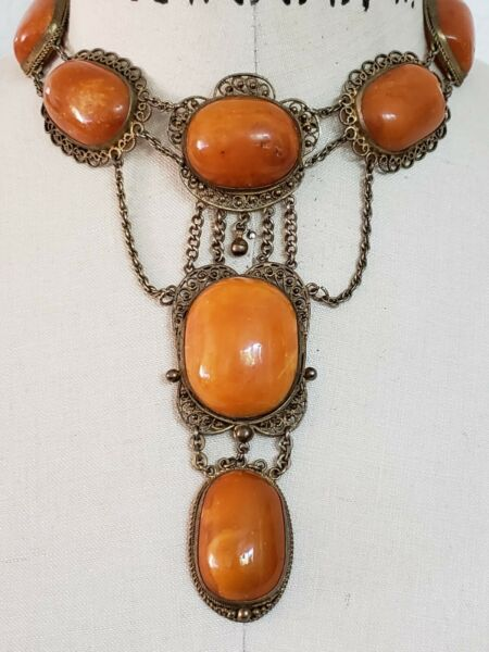 Old Butterscotch Amber Festoon Link Necklace