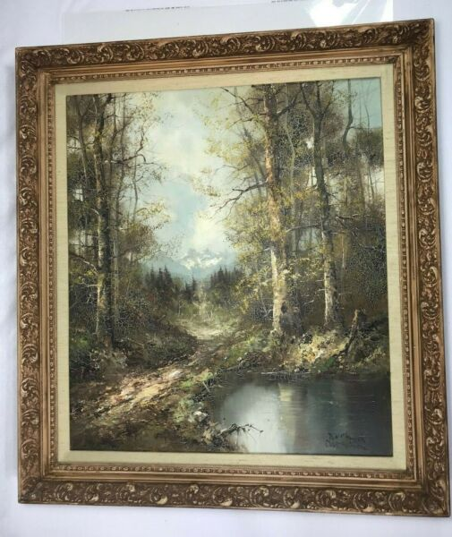 ANTIQUE OIL PAINTING BY GERMAN ARTIST quot;MARBACHquot; GORGEOUS BAVARIAN COUNTRYSIDE
