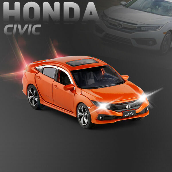 Honda 10th Civic FK8 1:32 Diecast Model Car Toy Collection Light