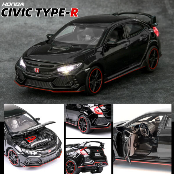 Honda 10th Civic FK8 Type R 1:32 Diecast Model Car Toy Collection Light