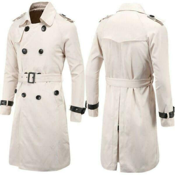 Mens Slim Double Breasted Long Trench Coat Jacket Waist Belt Lapel Collar M-3XL