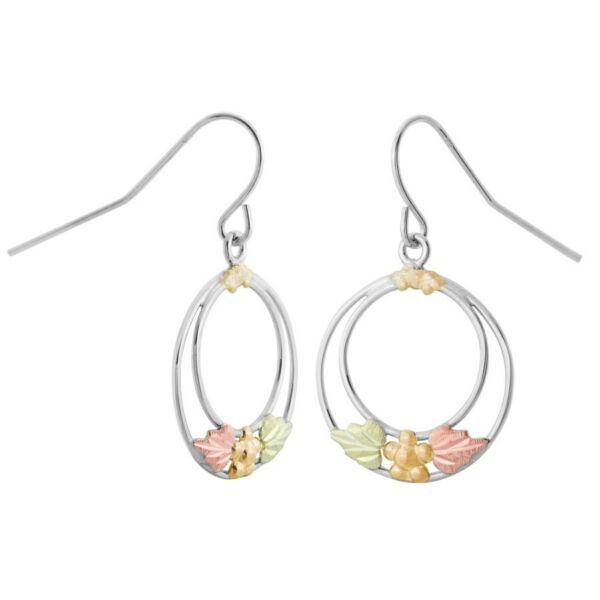 Sterling Silver Black Hills Gold Circle Earrings with 12K Gold Leaves