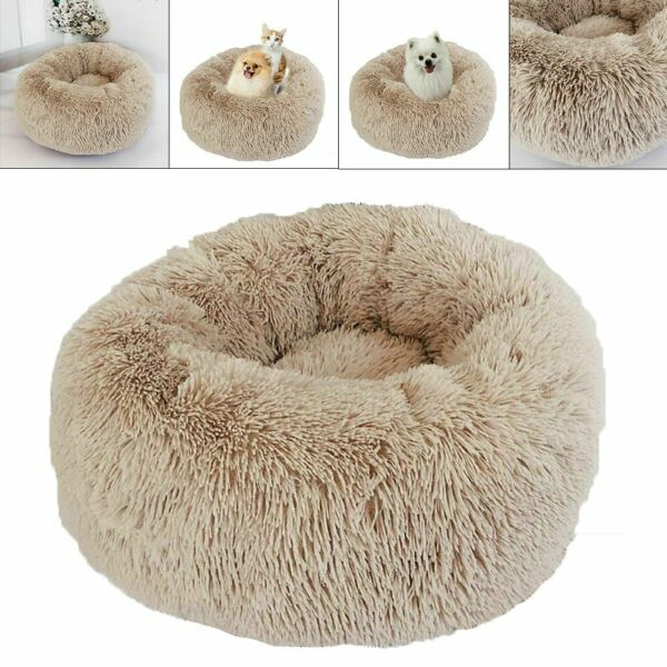 1Pc Pet Dog Bed Furry Soft Cats Dogs Cushion Lovely Comfortable Round Pets Nest