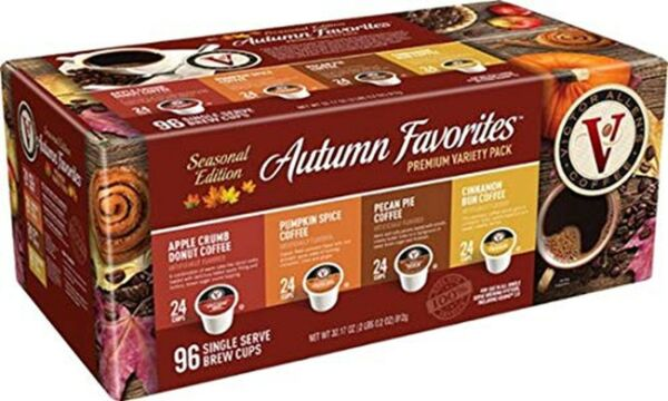 Victor Allen Premium Coffee Single Serve Cups Autumn Variety Pack 96 count $39.99