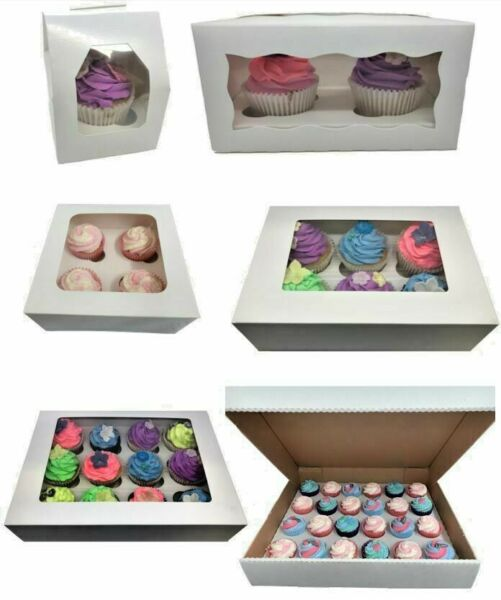 Windowed Cupcake Boxes for 1 2 4 6 12 amp; 24 Cup Cakes with Removable Trays
