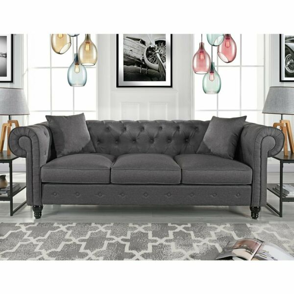 Vintage Fabric Sofa Scroll Arm Tufted Button Chesterfield Couch Light Grey $379.99