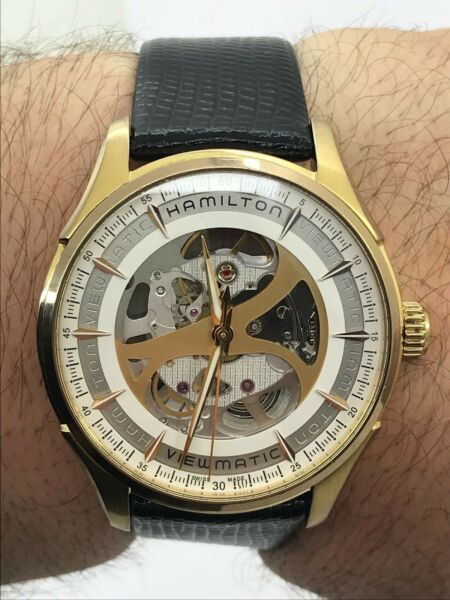 HAMILTON WATCH VIEW MATIC H425450 SKELETON AUTOMATIC MENS 40mm GOLD PLATED