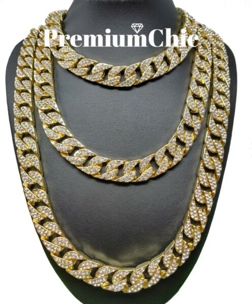 ICED Miami Cuban Choker Link Chain Men's Hip Hop Necklace Gold  Silver Plated