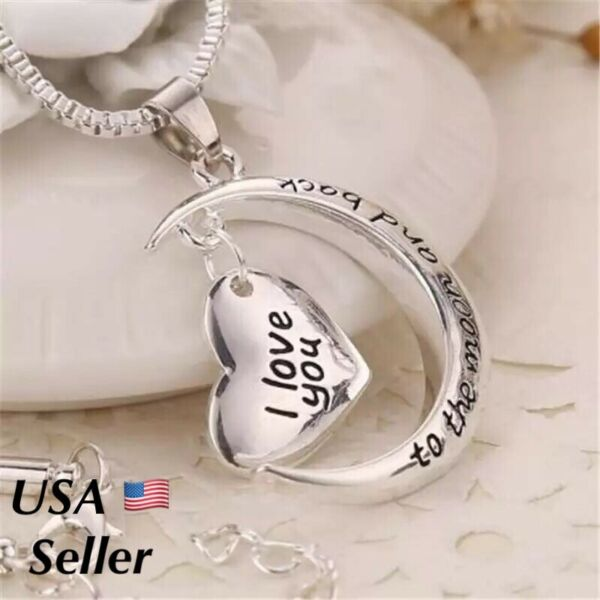 925 Sterling Silver I Love You To The Moon And Back Heart Pendant Necklace N41 $8.99