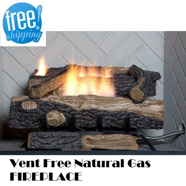 Natural Gas Fireplace Insert Vent Free Logs Thermostatic 24 inch Oakwood Heater