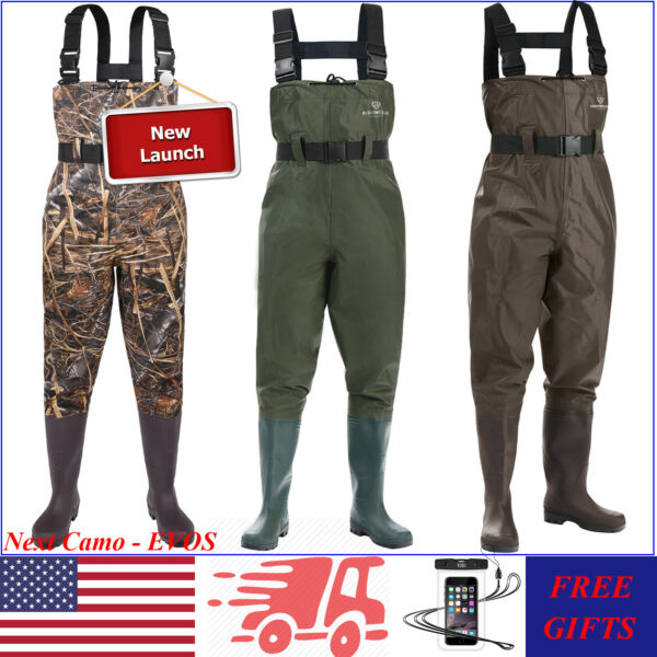 FISHINGSIR Nylon PVC 2-Ply Waders Rubber Bootfoot Chest Hunting