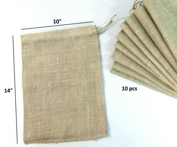 10 pcs Reusable ULINE Burlap Bag 10quot; x 14quot; With Drawstring MULTI Bag