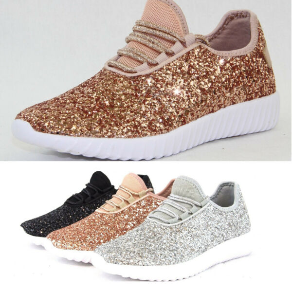 Womens Sequin Glitter Sneakers Tennis Lightweight Comfort Lace Up Athletic Shoes