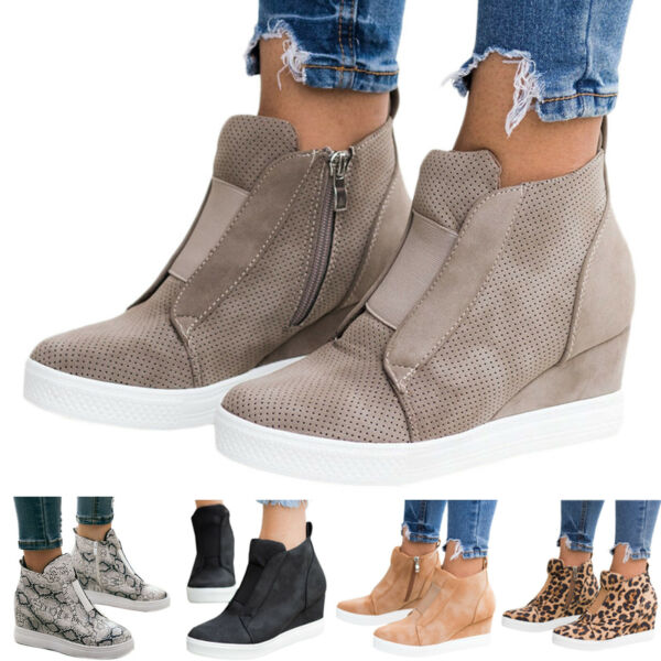 Womens Hidden Wedge Sneakers Ankle Boots Platform Slip On Zipper Casual Shoes