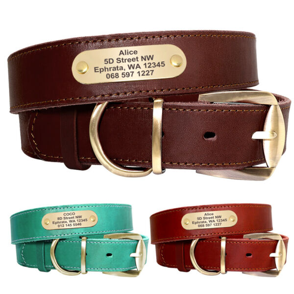 Real Leather Personalized Dog Collars with Nameplate Name ID Tags Engraved M XL $9.99