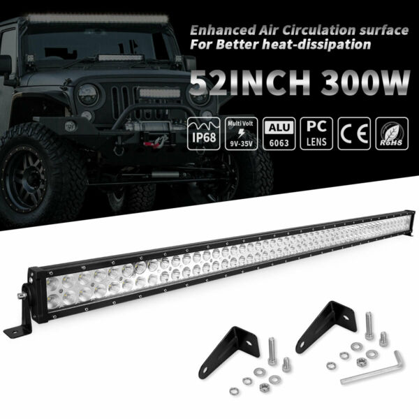 52quot;inch LED Work Light Bar Combo Truck Offroad 4WD SUV UTV Boat Driving 50quot;