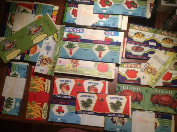 10 different tin can label vintage 1940's french Canadian fruits and vegetables