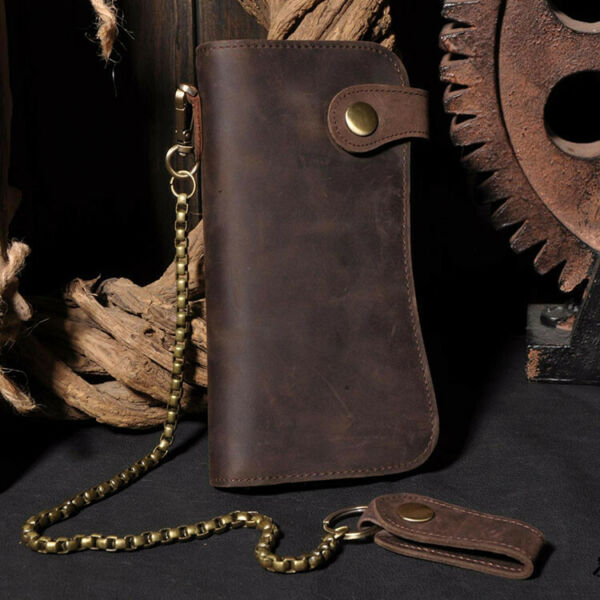 Men#x27;s Leather Credit ID Cards Holder Long Chain Wallet Biker Trucker Heavy Thick $23.99
