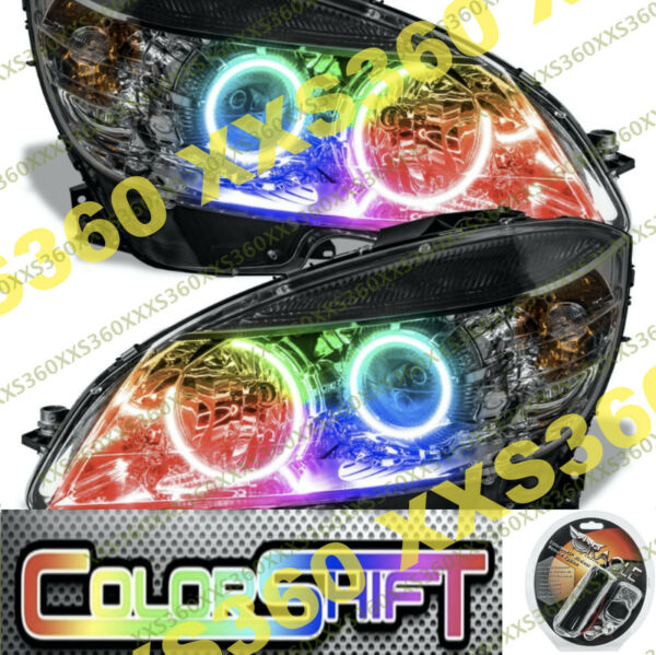 ORACLE Halo 2x HEADLIGHTS BLACK Mercedes Benz C-Class 08-11 COLORSHIFT WiFi LED