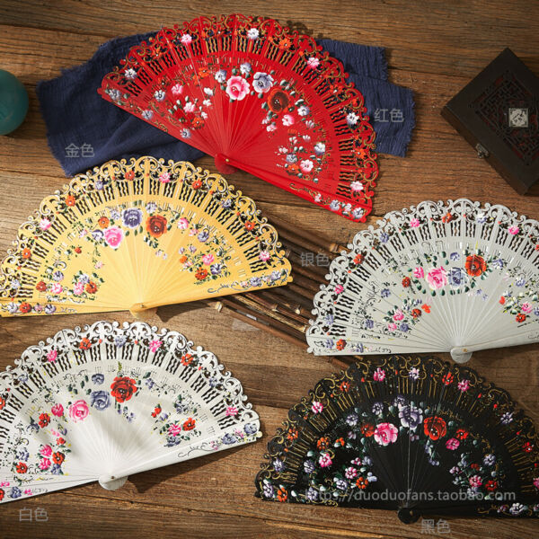 Hand Held Painted Spanish Style Wood Fans Vintage Fans Dance Fans Wedding Gift $22.21