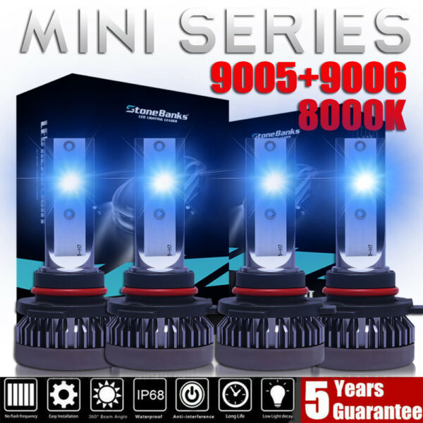 4x Mini 9005+9006 Ice Blue 8000K LED Headlight Bulbs 3200W 520000LM Hi-Low Beam
