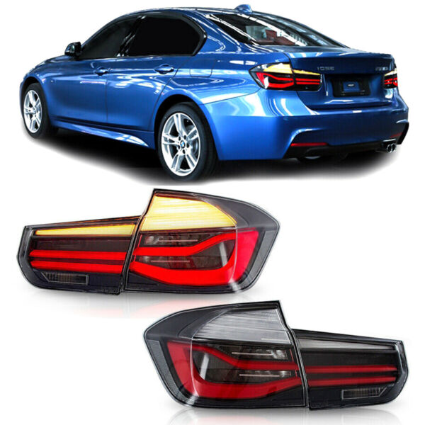 2x Smoked Rear LED Tail Lights For 12-15 BMW 3 Series F30 w Sequential Signal