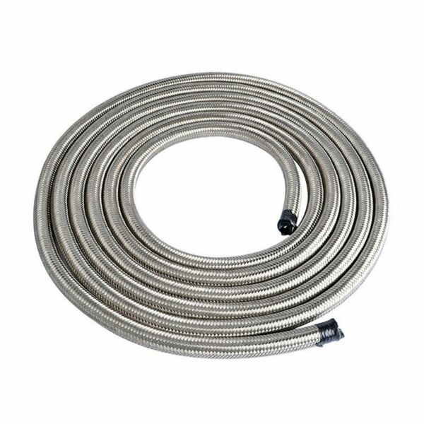 6AN Fuel Oil Gas Air Water Hose Line AN6 AN 6 Stainless Steel Braided Silver $31.00