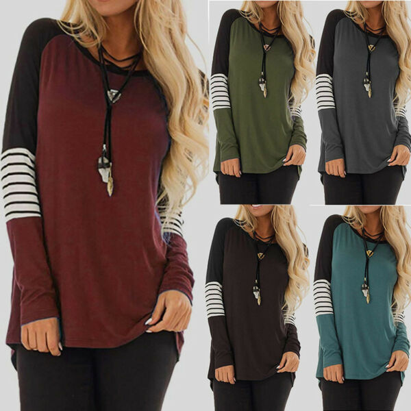Womens Color Block Long Sleeve Pullover Tops Blouse Plus Size Tunic T Shirt