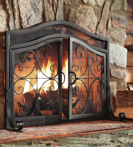 Two-Door Iron Fireplace Screen Cabinet Decor Metal Black Fire Safety Cover Doors