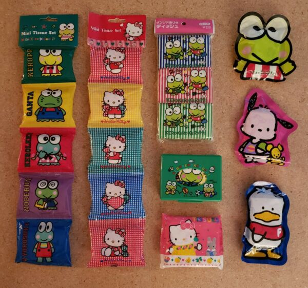 RARE SANRIO VINTAGE TISSUES NEW UNOPENED 18 TISSUE PACKAGES