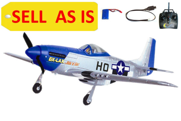 SELL AS IS Mustang P51D 2.4Ghz RC 4CH Airplane Warbird Model Plane 768-1A Used