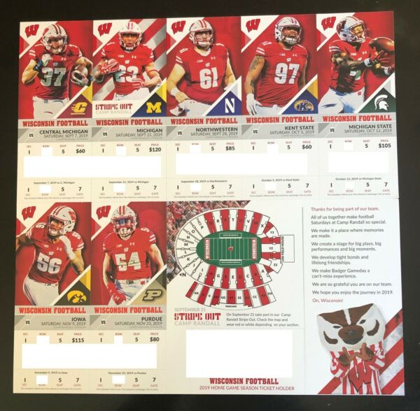 2019 Wisconsin Badgers Football Collectible Ticket Stub - Choose Any Home Game