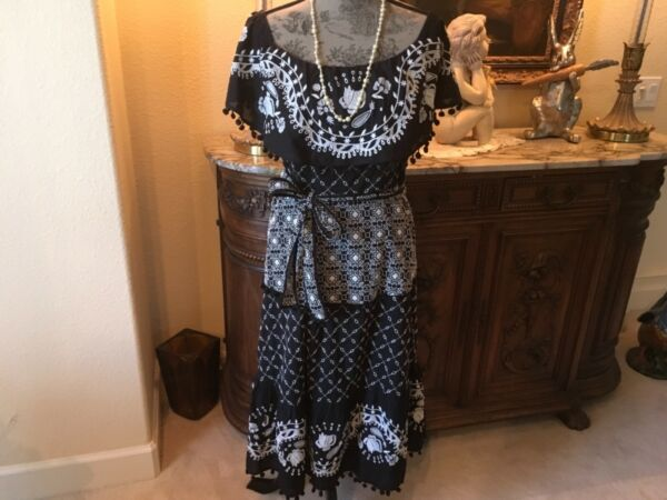 """by""""Anthropologie"""" blk&wht embroidered summer dress Spanish style 1012 NWT"""