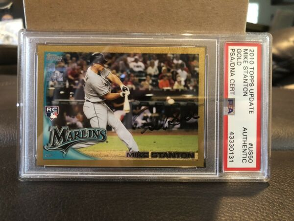 GIANCARLO MIKE STANTON SIGNED 2010 TOPPS UPDATE GOLD RC ROOKIE PSA DNA AUTH AUTO