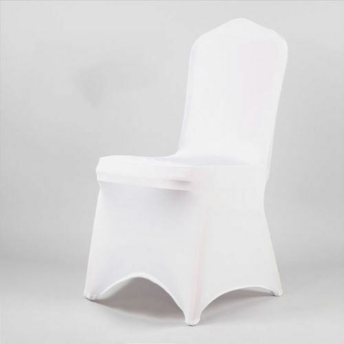 10050 White Covers Spandex Lycra Chair Cover Wedding Banquet Party ARCHED FRONT