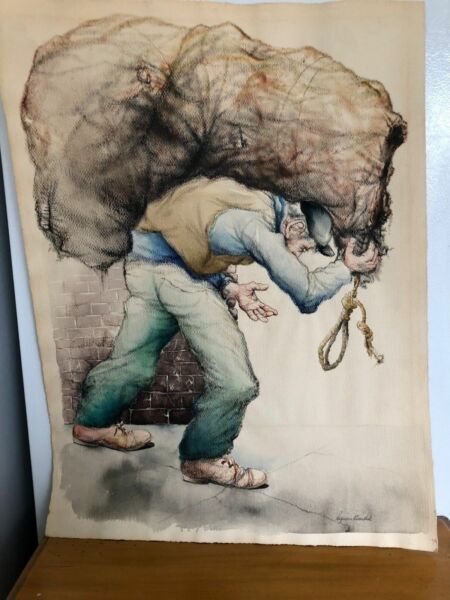 Seymour Rosenthal Water Color- Man Carrying Burlap SacK