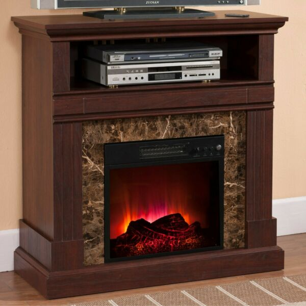 Electric Fireplace with Mantle Walnut Finish LED Flames Heater Console Table New