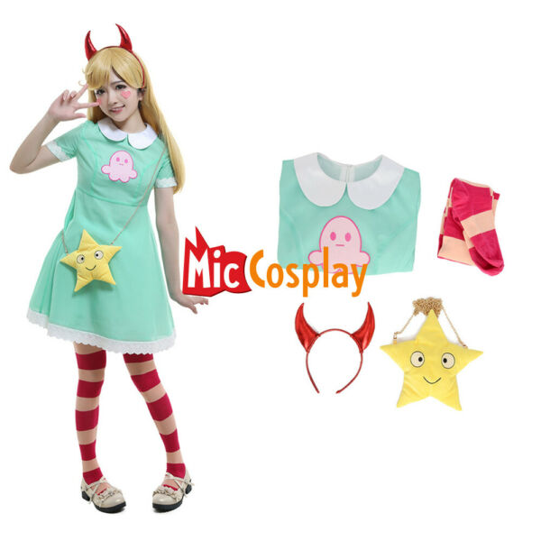 Star Butterfly Cosplay Costume Green Dress with Bag Halloween Costume for Women
