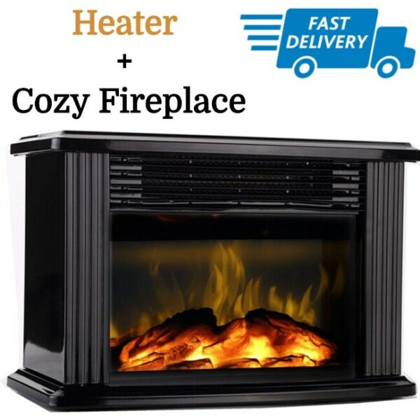 Small Electric Fireplace Insert Desk Mini Portable Heater 1500w Fire Flame Stove