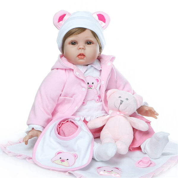 Reborn Silicone Baby Dolls Toys Cute Real Life Newborn Bebe with Bear Outfit 22