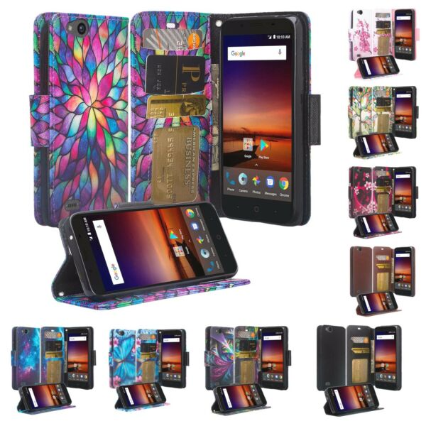 For ZTE Blade X Case Blade Force Z965 Slim Leather Wallet Kickstand Cover
