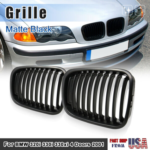 Matte Black Kidney Grille Grill for 2001 BMW 320i 330i 330xi 4 Doors