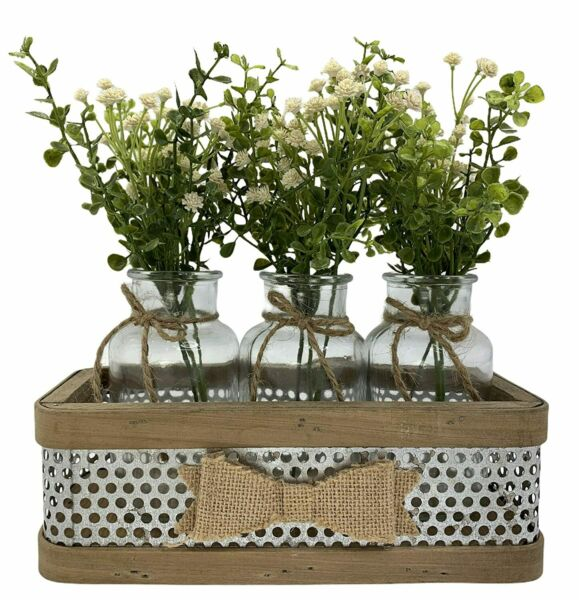 Farmhouse Kitchen Centerpiece Tray *3 Glass Bottle Jars with burlap BOW Rustic