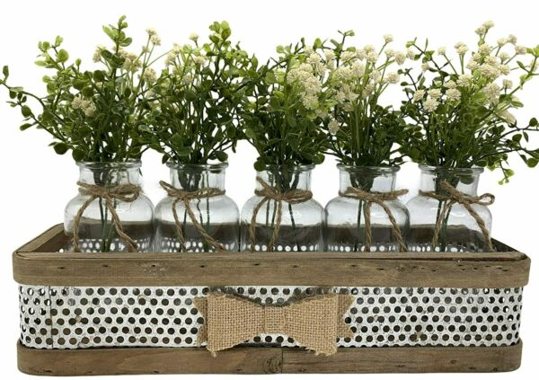 Farmhouse Kitchen Centerpiece Tray *5 Glass Bottle Jars with burlap BOW Rustic