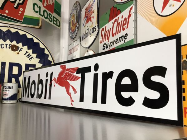 Antique Vintage Old Style Mobil Tires Sign Mobil Oil amp; Gas