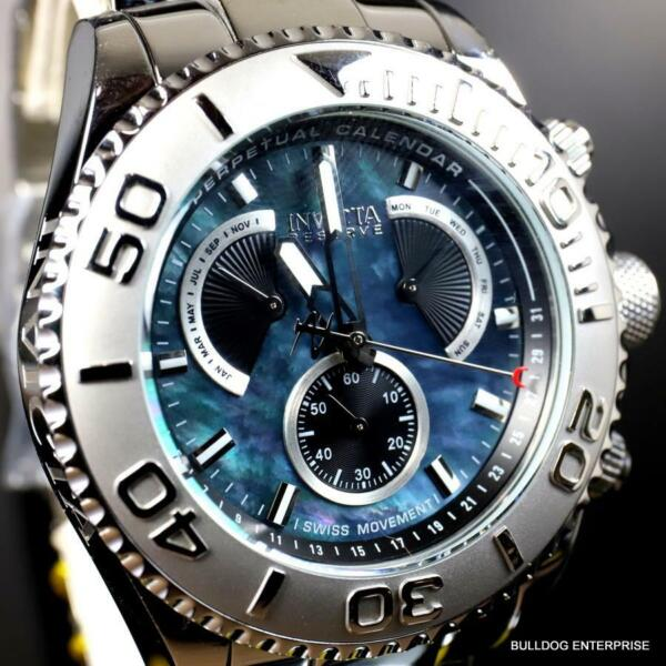 Invicta Reserve Pro Diver Swiss Mvt Black Mother of Pearl Steel 47mm New Watch