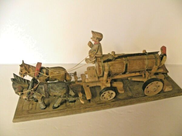 VINTAGE ANRI WOODEN HAND CARVED DRIVER W HORSE DRAWN BEER WATER WAGON