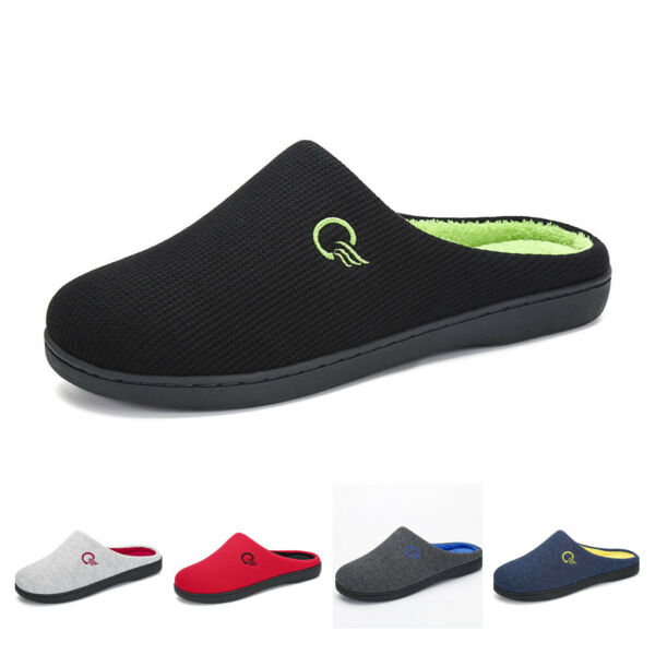 Unisex Men Indoor Cotton Slippers Two-Tone Slip On Memory Foam Clog Terry Lining