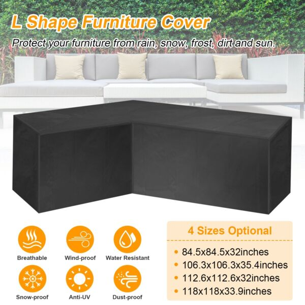 Black L Shape Sofa Cover Patio Outdoor Garden Furniture Waterproof Protector US $23.98